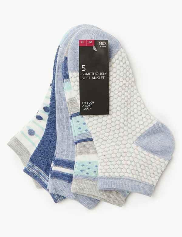 b022e2e04c0 5 Pair Pack Sumptuously Soft Anklet Socks