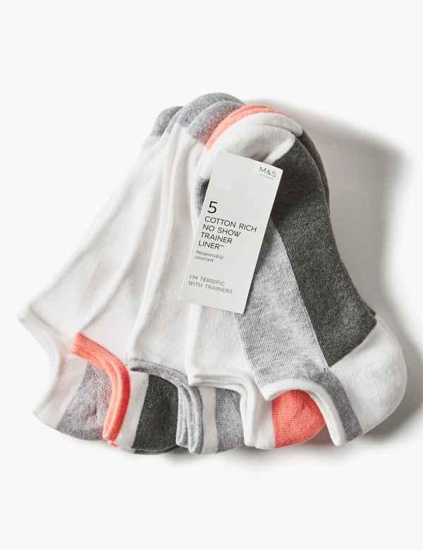 19d2975b8 5 Pair Pack Cotton Rich Trainer Liner Socks