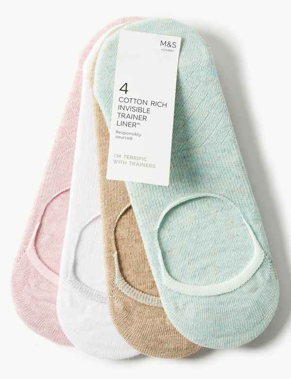 eb3f36cbe2490 4 Pair Pack Cotton Rich Trainer Liner Socks