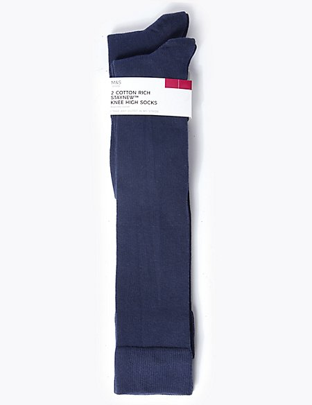 2 Pair Pack Cotton Rich Knee High Socks