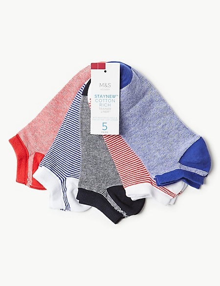5 Pair Pack Cotton Rich Trainer Liner™ Socks
