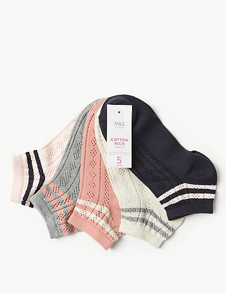 5 Pair Pack Striped Anklet Socks