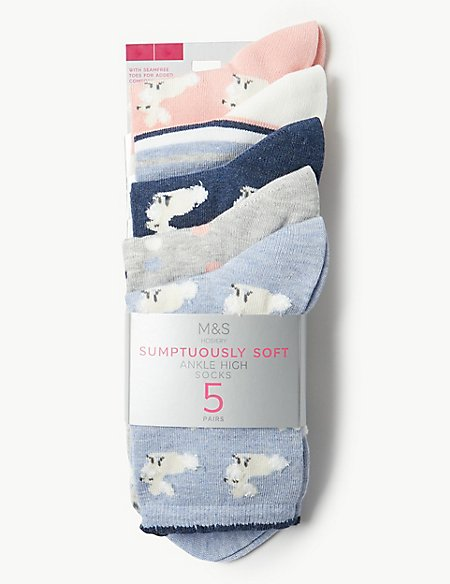 5 Pair Pack Bunny Ankle High Socks