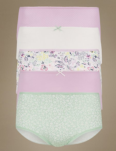5 Pack Pure Cotton Midi Knickers
