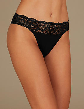 Cotton Blend Embroidered High Leg Knickers, BLACK, catlanding