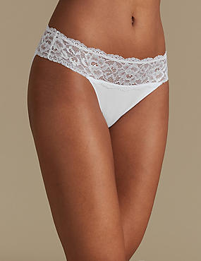 Cotton Blend Embroidered High Leg Knickers, WHITE, catlanding