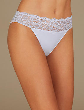 Cotton Blend Embroidered High Leg Knickers, WHITE MIX, catlanding