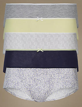 5 Pack Cotton Low Rise Shorts