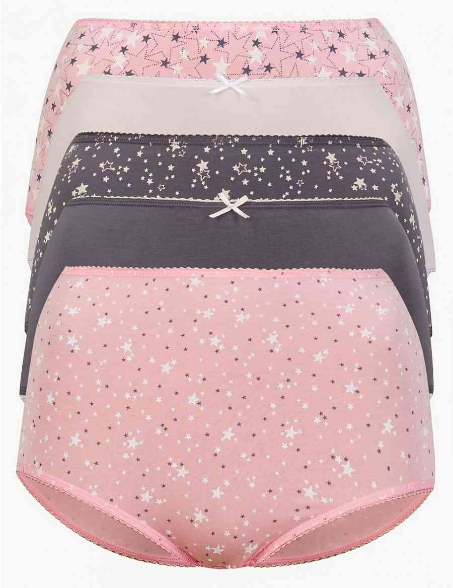 2e2250cae1 5 Pack Cotton Rich Full Brief Knickers