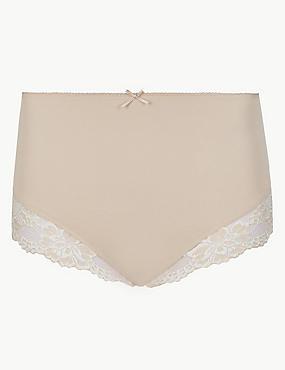 Cotton Rich Lace Cuffed Full Briefs