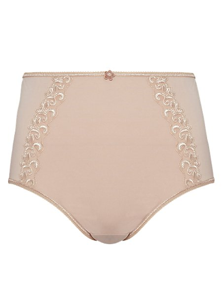 Embroidered High Rise Full Briefs