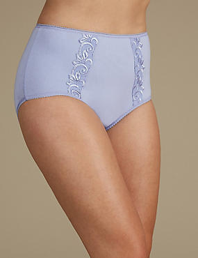 Cotton Rich Embroidered High Rise Full Briefs