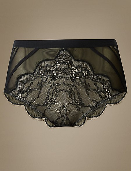 Sporty Eyelash High Waist Brazilian Knickers