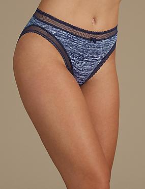 Lace Trim Printed High Leg knickers, INDIGO MIX, catlanding