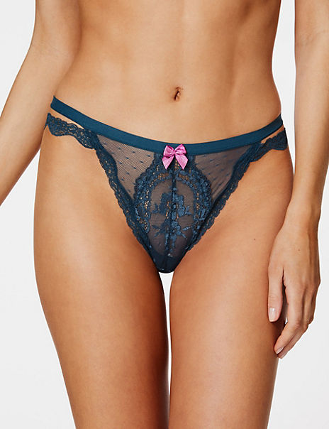 Spot Mesh & Cut Out Lace Thong