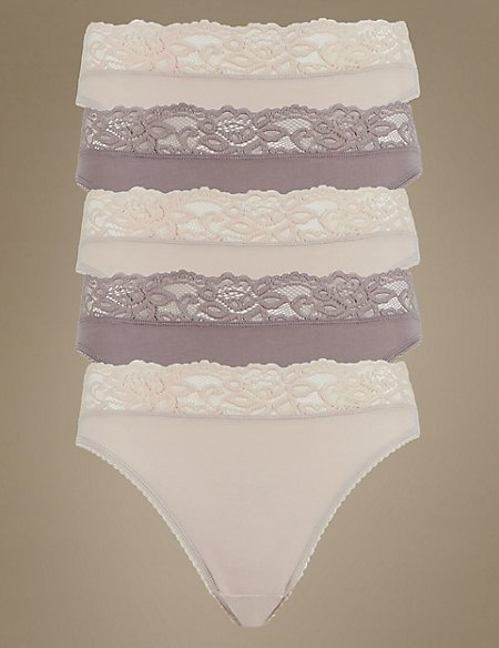 5 Pack Cotton Rich Lace High Leg Knickers