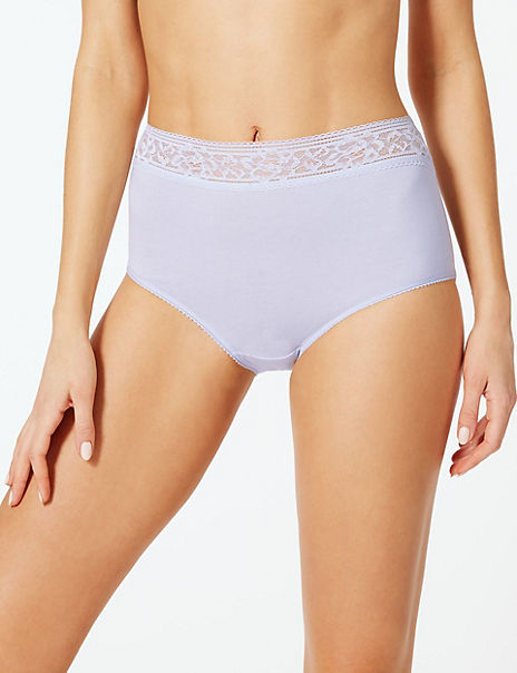 5 Pack Louisa Lace Cotton Rich Full Briefs