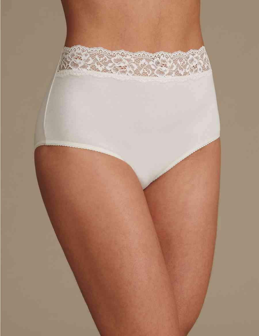 9df4b766df 5 Pack Lace High Waisted Full Briefs