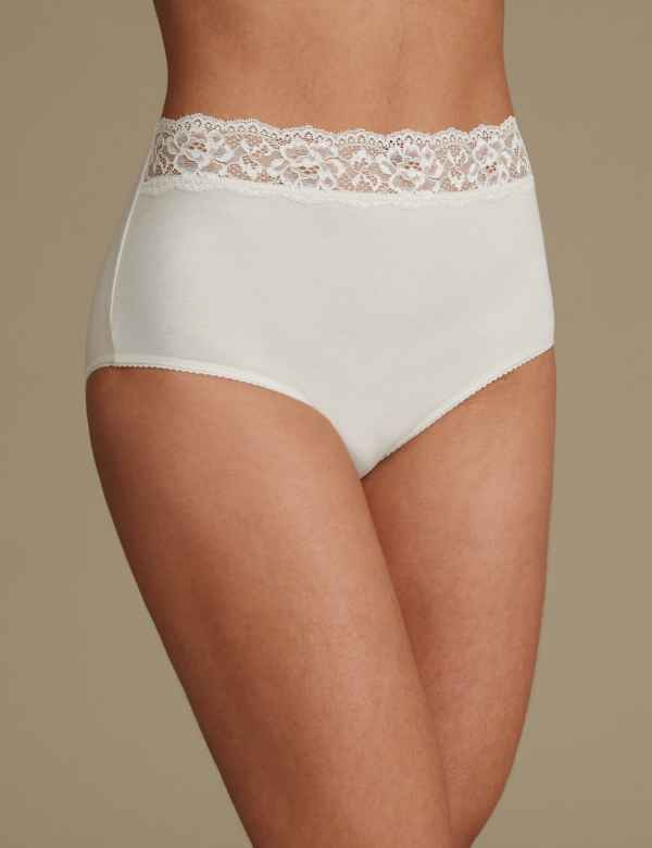 9e54091e2981 5 Pack Lace High Waisted Full Briefs | M&S Collection | M&S