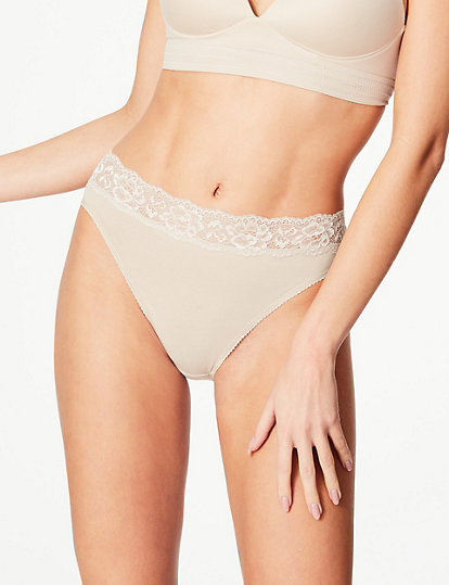 MARKS /& SPENCER ALMOND LACE THONG STYLE KNICKERS UK SIZE 16