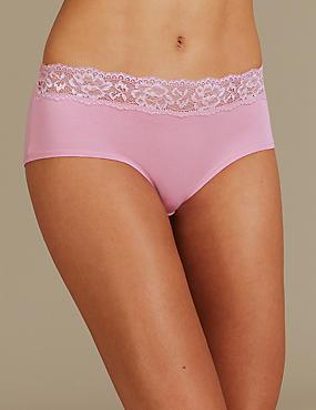 5 Pack Cotton Rich Geometric Lace Waist Low Rise Shorts