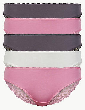 5 Pack Cotton Rich Geometric Lace Brazillian Knickers