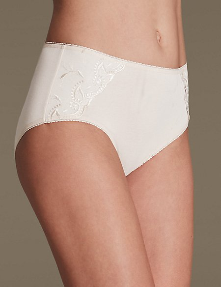 5 Pack Cotton Rich Embroidered High Rise Midi Knickers with New & Improved Fabric