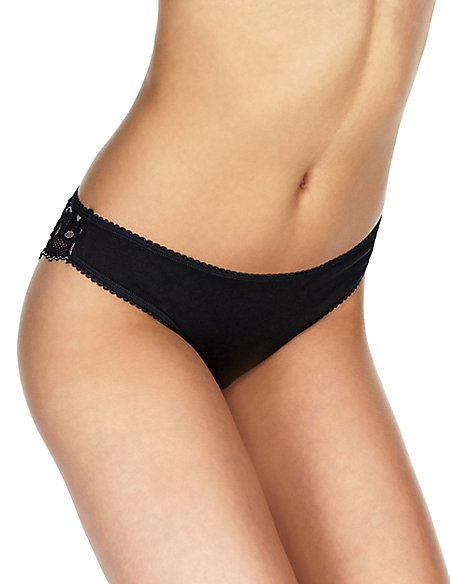 5 Pack Lace Low Rise Brazilian Knickers with New & Improved Fabric