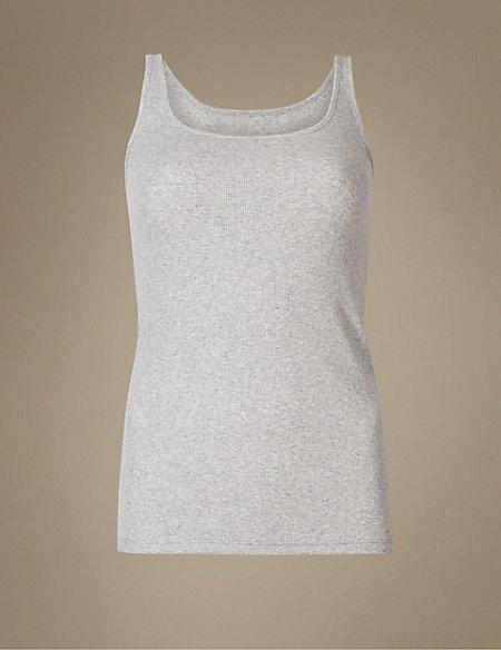 Ribbed Build-up Shoulder Vest