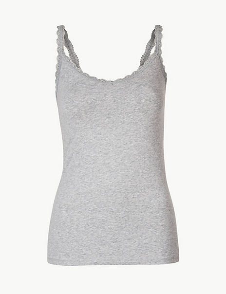 Cotton Rich Lace Trim Vest