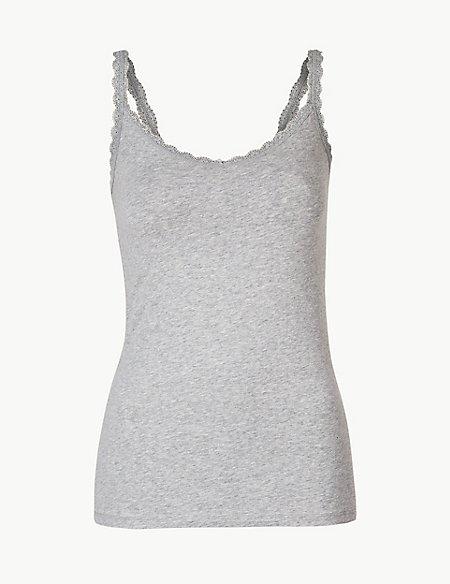 Cotton Rich Lace Trim Vest