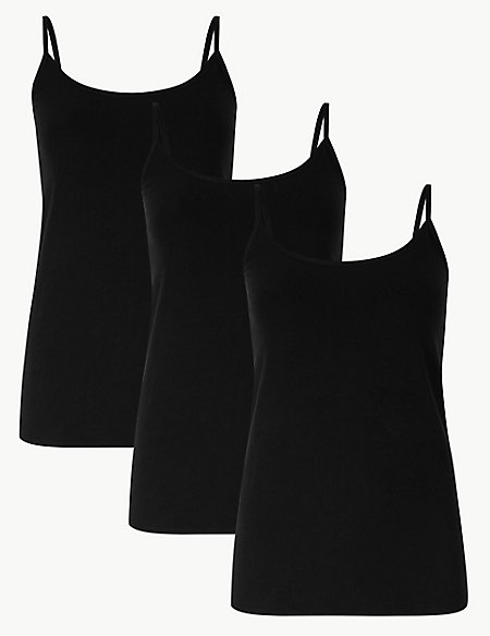 3 Pack Cotton Rich Strappy Vests