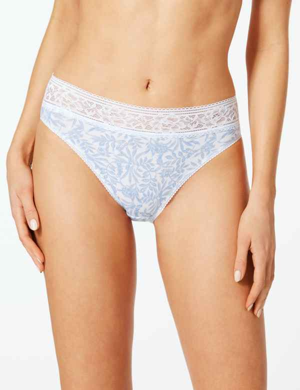 15a933304 5 Pack Cotton Rich Lace High Leg Knickers