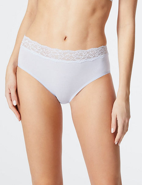 5 Pack Cotton Rich Lace Midi Knickers