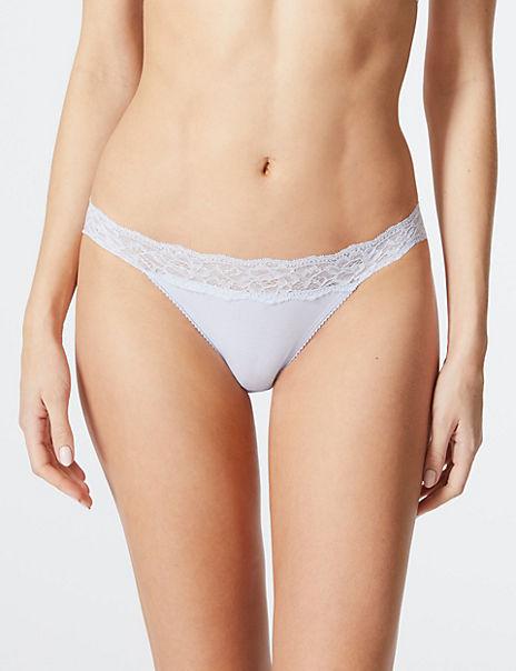 5 Pack Cotton Rich Lace Bikini Knickers