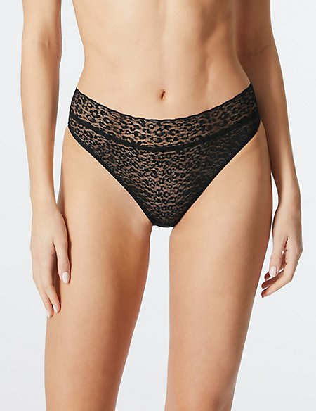 4 Pack All Over Lace High Leg Knickers