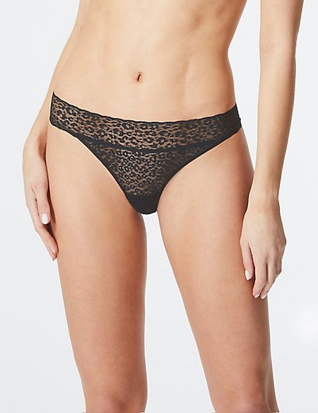 4 Pack All Over Lace Thong