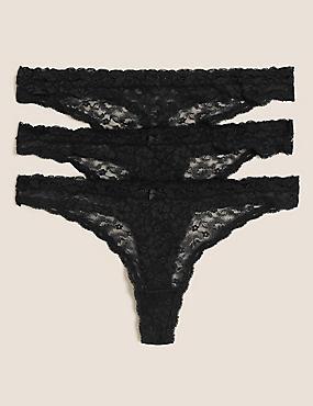 3pk Lace Thongs