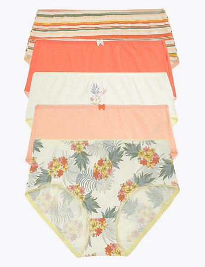 2 Pairs Ladies Knickers Striped Waist Trims Plain Briefs Underwear Panties Trend