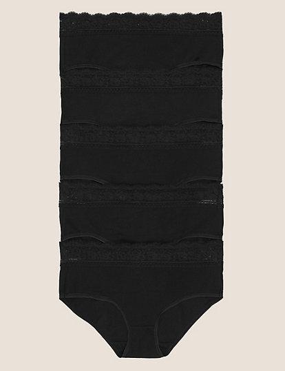 M /& S Ladies 5 Pack Cotton With Lycra Midis Briefs Knickers Underwear Size 12 16