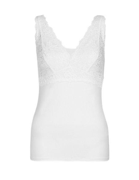 Supima® Lace Cup Built Up Shoulder Vest