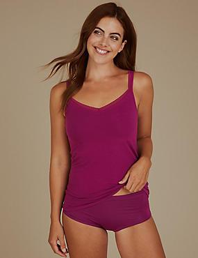 Cotton Rich Lace Trim Vest with Shelf Support, MAGENTA, catlanding