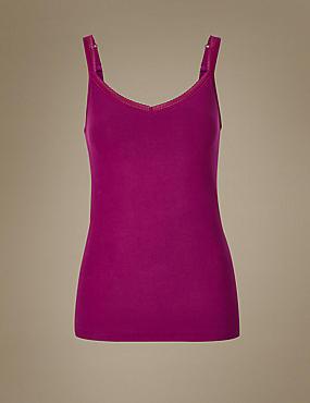 Cotton Rich Lace Trim Vest with Shelf Support