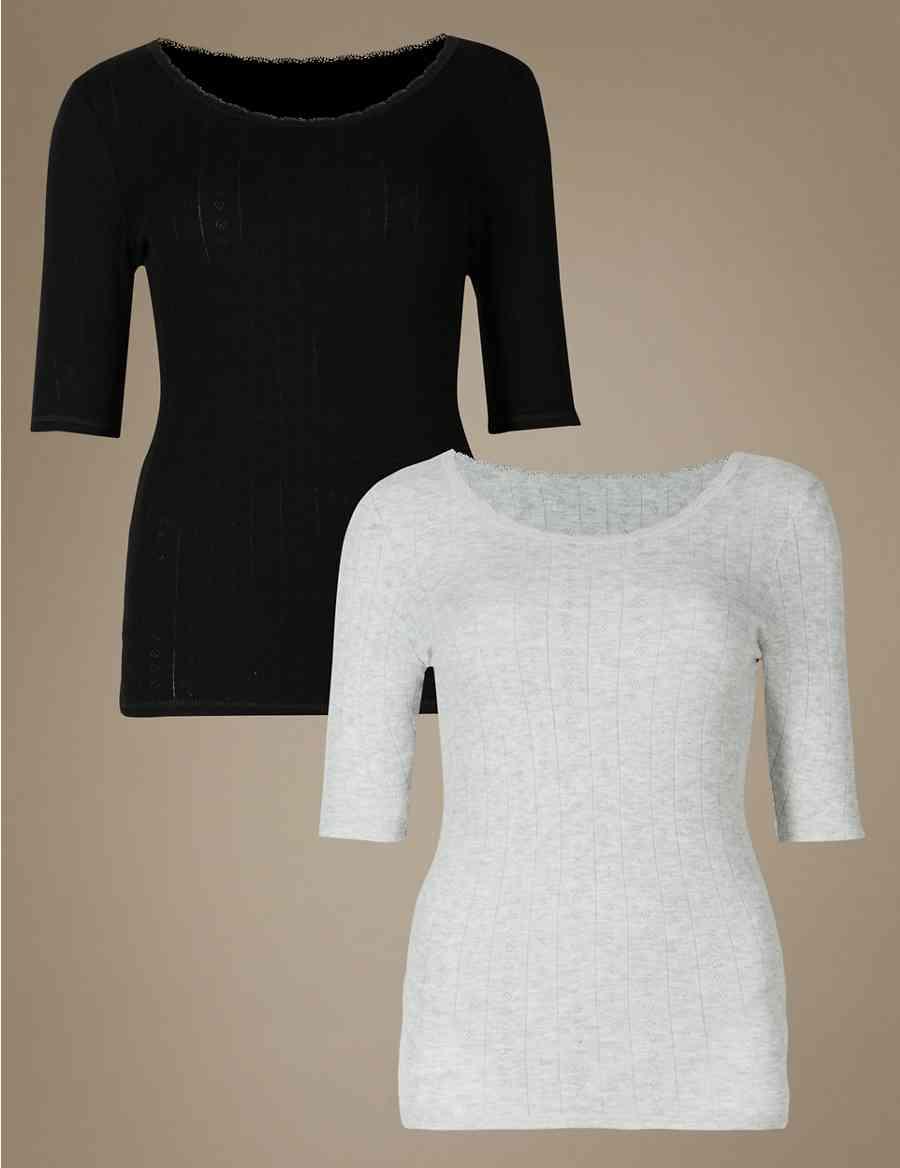 c007fdf30e975 2 Pack Thermal Short Sleeve Pointelle Tops