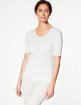 2 Pack Thermal Short Sleeve Pointelle Tops, WHITE, catlanding