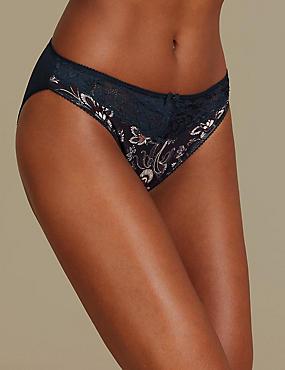 Printed Jacquard & Lace High Leg Knickers