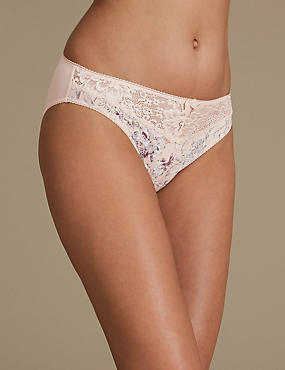 Printed Jacquard & Lace High Leg Knickers