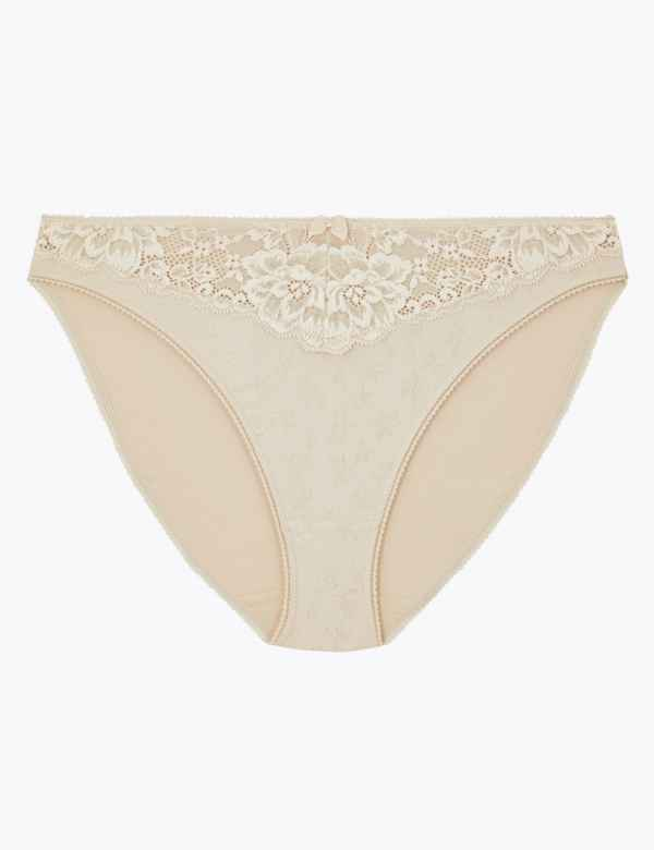 d68ab72a88 Jacquard   Lace Trim High Leg Knickers