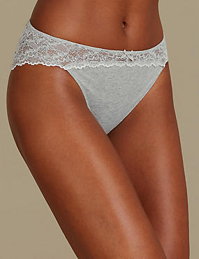 Cotton Blend Marl & Lace High Leg Knickers