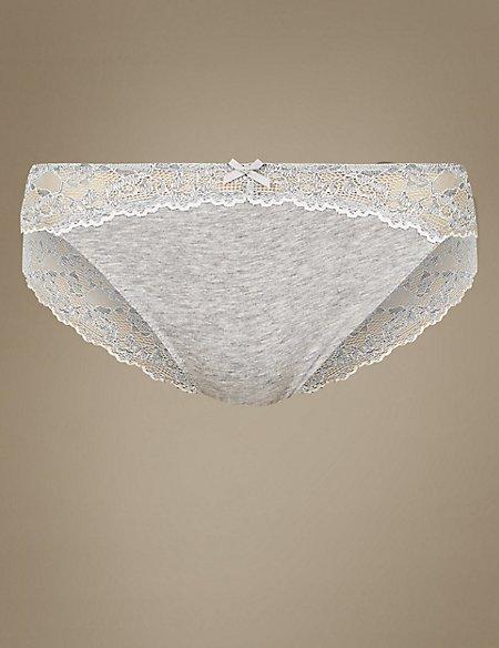 Cotton Blend Marl & Lace High Leg Knickers